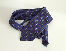 Pierre Balmain Paris Couture Tie 100% Silk Handmade Marine Motif Captain Navy