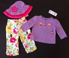 NWT Gymboree Fairy Fashionable 6-12 Months Purple Tee Flower Pants & Ruffle Hat