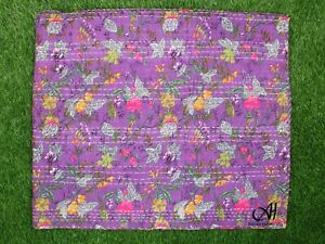 Indian Handmade Katha Quilt Bedspreads Coverlet Donnas King Cotton Purple Color