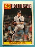 Phil Niekro  Record Breaker 1985 Topps Baseball # 204 New York Yankees