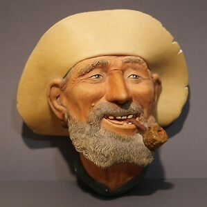 """Bossons Chalkware Head: 1977  """"Old Timer"""". Made in England"""