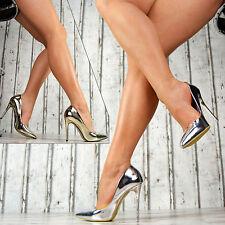 Neu SeXy Pumps Damen Lack Spitze Schuhe Party High Heels Stilettos Gold Silber