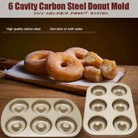 6 Tasse Stahl Donut Donut Bagel Zinn Pfanne Form Antihaft Anti Warp Bäckerei