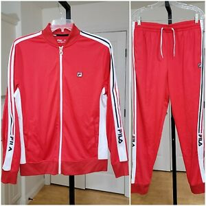 Men's Fila White | Red Signature Tracksuit.  Size Medium.  New Without Tags.