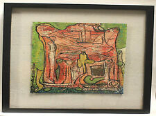 """Alexander Gore Abstracet Painting Oil on Paper """"Big House"""" Framed Signed 2012"""