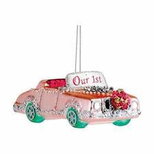 """Kurt Adler 5"""" Glass """"our First Christmas"""" Pink Car Ornament"""