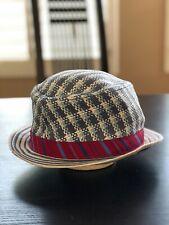 Robert Graham Hat Blue / White Plaid Men's Straw Fedora Size S/M