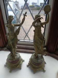 Antique  Moreau??? France 'Bronze on Spelter Figurines- Pair - 1 - A/F