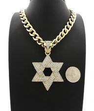 "Hip Hop Iced Star of David Pendant 11mm 20"" Cuban Link Chain 14k Gold Plated"