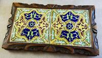 Mexico Folk Art 2 Tile Ceramic Trivet Plant Stand Wood Base Yellow Green Vintage