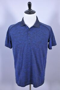 Lululemon Metal Vent Polo Shirt Blue Black Heather Men's Large L