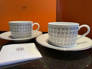 NEW HERMES Porcelain Tea Cup Saucer Mosaique Au 24 Platinum (1 pair)