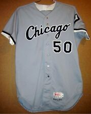 1993 CHICAGO WHITE SOX BRIAN DRAHMAN #50 GAME WORN ROAD Gray MLB Size 48 JERSEY