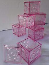36pc Pink Baby Shower fillable Blocks for Girl. Birthday, Baptizm keepsakefavor.