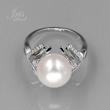 6.5 # White Pearl 925 Sterling Silver CZ Cultured Freshwater Ring 01142 New