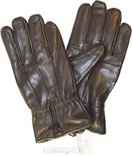 Men's Leather Gloves, (L) Zip up Men's Gloves, Winter Gloves, lined warm Gloves