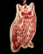 """Ceramic White And Red Painted Owl Glazed Holiday Christmas Tree Ornament 3"""" Rare"""