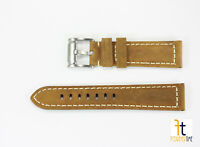 22mm Honey Tan Color Leather Suede Watch Band