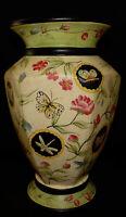 Vintage Butterfly Dragonfly Vase Porcelain w Crackled Glaze Vintage Home Decor