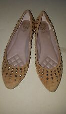 VINCE CAMUTO Beige  Suede Leather Studded Pointy Toe Flats Size  8.5B