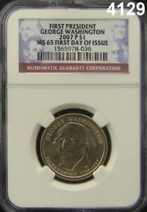 FIRST PRESIDENT GEORGE WASHINGTON 2007P $1 NGC CERTIFIED MS 65 FIRST DAY #4129