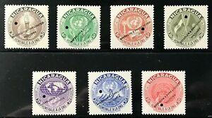 """NICARAGUA Sc# C339-345 1954 UNITED NATIONS  SET OF """"SPECIMEN"""" MNH OG VF (9-193)"""