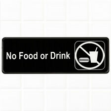 No Food or Drink Sign for Door / Wall - Black and White, 9 x 3-inches Sign