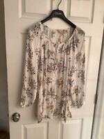 Lucky Brand Lightweight Boho Floral Peasant Semi Sheer Top Blouse Size 3XL New