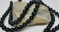 Lot (2) Natural Black Onyx Gemstone 10 mm Round Shaped Beads 15.5'' Strand NEW