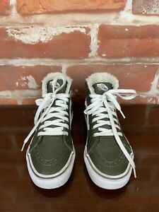 VANS Gunmetal Sherpa Lined Suede Old School Sk8 Hi Skateboarding Shoes - 4,5