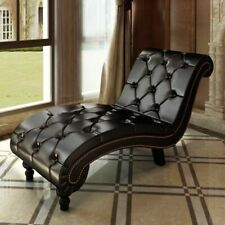 vidaXL Chaise Lounge w/ Buttons Artificial Leather Brown Living Room Furniture