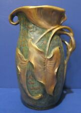 Antique Teplitz Amphora Vase Lily & Leaf Design Crown Mark 8 1/2""