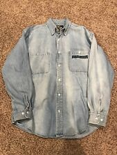 Vtg Harley-Davidson Denim Embroidered Motorcycle Button Down Long Sleeve Shirt M