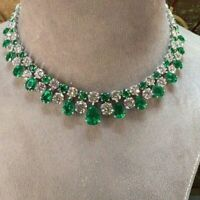 "28.00 Ct Emerald & Diamond Cluster Tennis Necklaces 14K White Gold Over 16"" Inch"