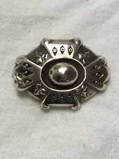 Victorian C1880 large solid silver ornate Oval brooch Some Wear