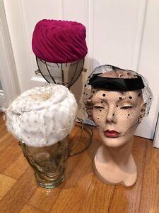 Vintage 60/'s Pillbox Green Brown and White Velvet Hat