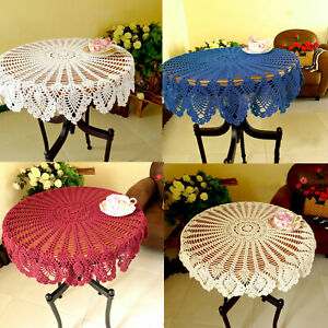 Vintage Cotton Crochet Lace Tablecloth Round Table Cloth Cover Doily Home Decor