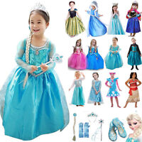 Princess Elsa Dress Fancy Costume Anna Girls Party Kid Cosplay Frozen Outfit