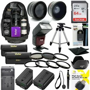 SONY ALPHA A6300 1080P 8K HD 64GB ACCESSORIES KIT LENSES FILTERS BACKPACK FLASH
