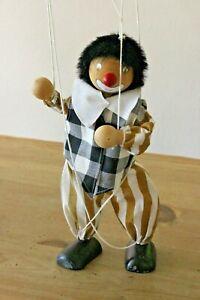 Vintage Wooden Clown Marionette String Puppet Wood & Cloth