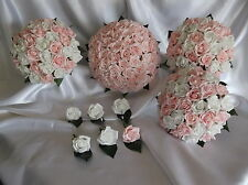 Pink and White Foam Roses With Diamante Pins Wedding Flower Bridal Bouquet Set