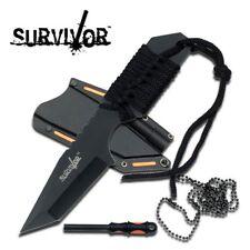 NEW Mtech Multifunction Black Neck Knife with Firestarter Fixed Blade EDC