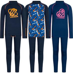 FREEGUN Border Kinder Thermo Outdoor Funktionsunterwäsche Anzug 2-teilig blau