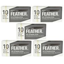 50 Feather FHS-10 Hi-Stainless Single Edge Razor Blades 5 x 10 Packs FREE UK P&P