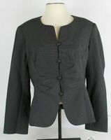 Emily Womens 16 Blazer Jacket Black Pinstripe Button Front Ruched 532725 NWT
