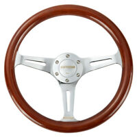 14'' Universal 350mm Wooden Steering Wheel Wood Grain Trim Silver Chrome Spoke