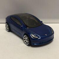 Hot Wheels Blue Tesla Model 3 1:64 Scale Diecast Toy Car Model Mattel