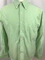 Chaps Mens Dress Shirt Size 16 Long Sleeve Button Front Green