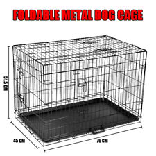 """30"""" Medium Dog Kennel Collapsible Metal Crate Pet Puppy Cat Rabbit Cage"""