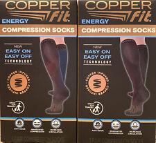 2 PACK Copper Fit Energy Compression Socks Easy On/Off LRG Men 9-12 Women 10-13
